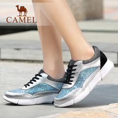 Camel/骆驼女鞋 时尚休闲女鞋 亮片牛皮女鞋系带休闲单鞋