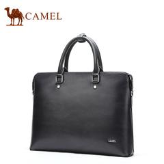 骆驼商务男士手提包横款休闲牛皮包硬款青年公文包单肩斜挎包提包