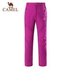 CAMEL骆驼户外冲锋裤女 防风保暖徒步户外软壳裤女士长裤