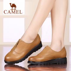 Camel/骆驼女鞋 舒适休闲女单鞋 简约牛皮圆头平跟女鞋休闲鞋女