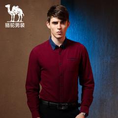 Camel/骆驼男装秋季新款纯色衬衫棉质撞色领修身时尚休闲长袖衬衣