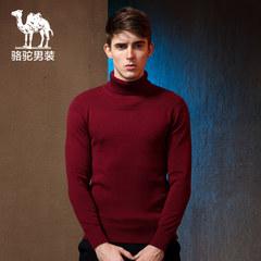 骆驼 秋冬装新款圆领毛衣 长袖可翻高领修身毛线衣男