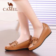 【内增高】Camel/骆驼女鞋知性高雅水染牛皮圆头轻便休闲女鞋新款