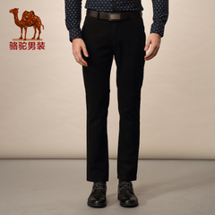 Camel/骆驼男装 春季装新款修身休闲裤 男士纯色中腰商务休闲长裤