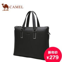 骆驼新款男士手提包横款商务公文包休闲牛皮包单肩斜跨男包提包