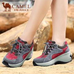 Camel/骆驼女鞋春季真皮系带时尚休闲皮鞋磨砂皮高跟运动休闲女鞋