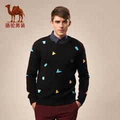 Camel/骆驼男装毛衣新品春季休闲圆领修身套头男士长袖毛衣