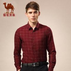 骆驼男士衬衫春秋季时尚男装格子长袖衬衫修身男青年纯棉长袖衬衣