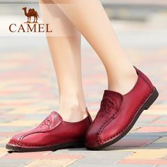 camel骆驼女鞋 春季牛皮圆头女鞋复古休闲平跟鞋休闲鞋女鞋子