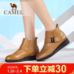 camel骆驼短靴冬季保暖舒适女靴 简约女鞋平跟短靴