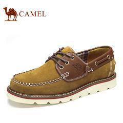 Camel/骆驼男鞋 日常休闲鞋磨砂帆船鞋男 春季潮鞋子皮鞋系带休闲