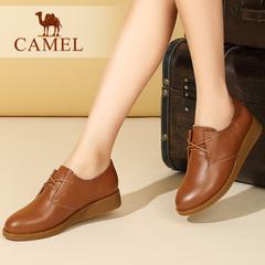 camel骆驼女鞋 秋季新款 舒适百搭牛皮休闲平底圆头系带女单鞋