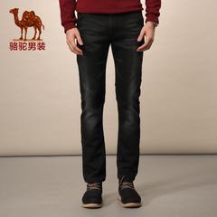 Camel/骆驼男装长牛仔裤 微弹中高腰修身小脚裤 拉链百搭小腿裤男