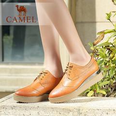 Camel骆驼女鞋 春新款厚底平跟布洛克松糕鞋平底鞋单鞋