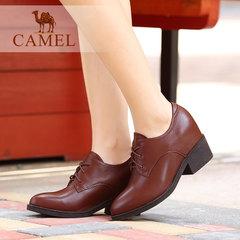 Camel/骆驼女鞋 优雅通勤油腊牛皮小尖头系带高跟深口女鞋子休闲