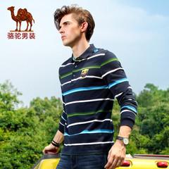 Camel/骆驼男装新款秋季纯棉长袖t恤条纹商务休闲门筒领体恤衫男