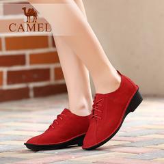 Camel/骆驼女鞋 舒适休闲 磨砂牛皮圆头系带坡跟休闲女鞋