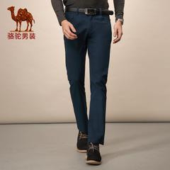 Camel/骆驼男装 商务休闲中腰长裤修身小脚棉纯色休闲裤