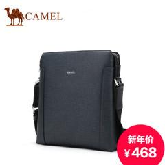 骆驼新款男士单肩包时尚休闲牛皮背包竖款斜跨包青年商务包包