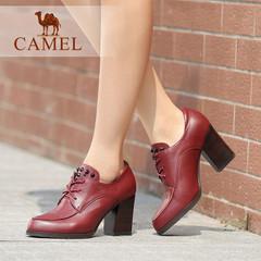 Camel/骆驼女鞋通勤优雅水染牛皮尖头系带粗高跟鞋女 休闲女单鞋