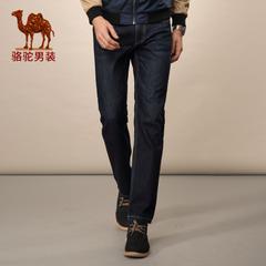 Camel/骆驼男装新款水洗休闲直筒长裤中高腰直脚拉链牛仔裤