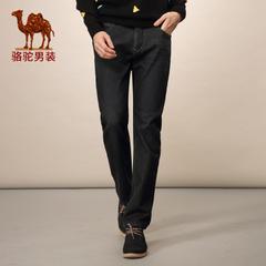 Camel/骆驼男装 秋冬微弹中高腰长裤 棉质直筒牛仔裤 哈伦裤男
