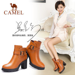 骆驼短靴女 冬季女鞋粗跟高跟女靴 真皮靴子圆头防水台春秋单靴