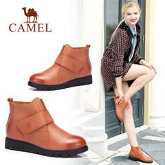 駱駝女鞋 秋冬季圓頭真皮短靴 休閑平底女靴子 簡約短筒春秋單靴