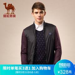 男装骆驼 修身涤纶收口袖拉链外套 棒球领罗纹拼色长袖夹克男