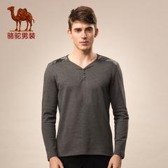 Camel/骆驼男装 春季新款无弹棉质V领纯色t恤青春季流行休闲T恤