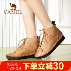 Camel骆驼短靴春季女鞋甜美牛皮女靴简约休闲女鞋