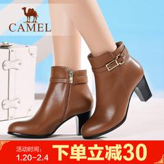 camel骆驼短靴 冬季时尚简约侧拉链粗跟鞋 高跟女靴子 时装靴女