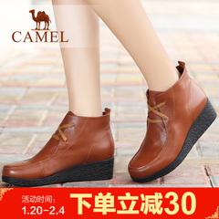 camel骆驼短靴 春季女鞋 女靴 牛皮坡跟舒适女鞋