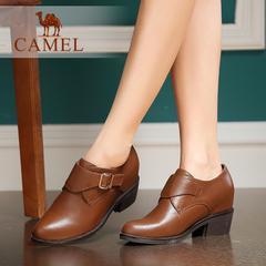 【内增高】Camel/骆驼女鞋舒适优雅牛皮魔术贴圆头高跟深口女鞋