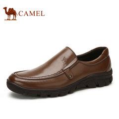 Camel/骆驼男鞋商务休闲鞋真皮品质牛皮套脚男鞋乐福鞋舒适男鞋子