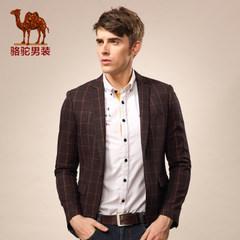 骆驼男装 秋季男士格子长袖西服  青年便服单西