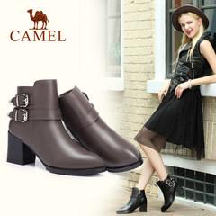 骆驼女鞋 秋冬真皮高跟尖头短靴欧美时尚加绒粗跟女靴子