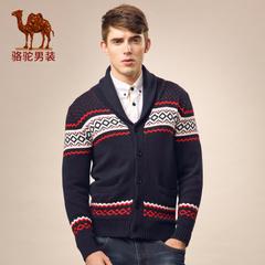 Camel/骆驼男装 秋季青年V领条纹男士时尚休闲修身长袖毛衣