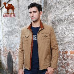骆驼 秋季立领修身夹克 商务休闲棉质纯色外套男潮