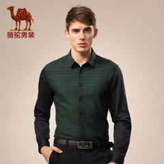Camel/骆驼男装 秋季无弹条纹长袖衬衫 青春流行休闲棉质衬衣