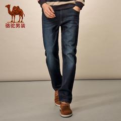 Camel/骆驼男装 冬季微弹水洗加厚直筒中高腰薄绒长裤牛仔裤男