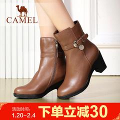 camel骆驼女靴 冬季保暖粗跟中筒靴日常女靴时装靴舒适女靴子