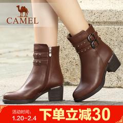 camel骆驼女靴优雅女鞋 牛皮小圆头女靴中筒靴