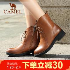 camel骆驼女鞋牛皮侧拉链女靴简约系带短靴