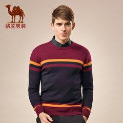 特卖骆驼男装 秋冬季青年套头直筒圆领撞色条纹羊毛长袖毛衣男