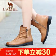 camel骆驼短靴牛皮牛皮女鞋女鞋简约女靴棉鞋皮靴