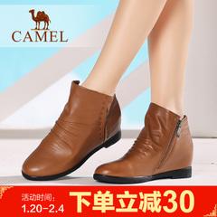 【 内增高】骆驼短靴冬季圆头女靴平跟女鞋