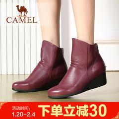 camel骆驼短靴 女鞋简约舒适女靴牛皮坡跟女靴女鞋