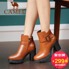 Camel骆驼短靴冬季新款高跟粗跟加绒女靴短筒靴简约风高跟女靴