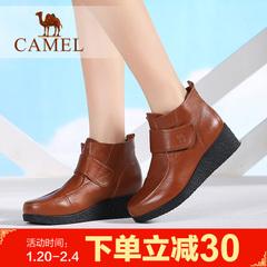camel骆驼短靴 春季女鞋女鞋 时尚日常牛皮女短靴